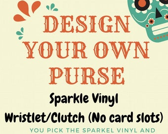 Diamond Tufted Sparkle Vinyl Wristlet/Clutch (No card slots)