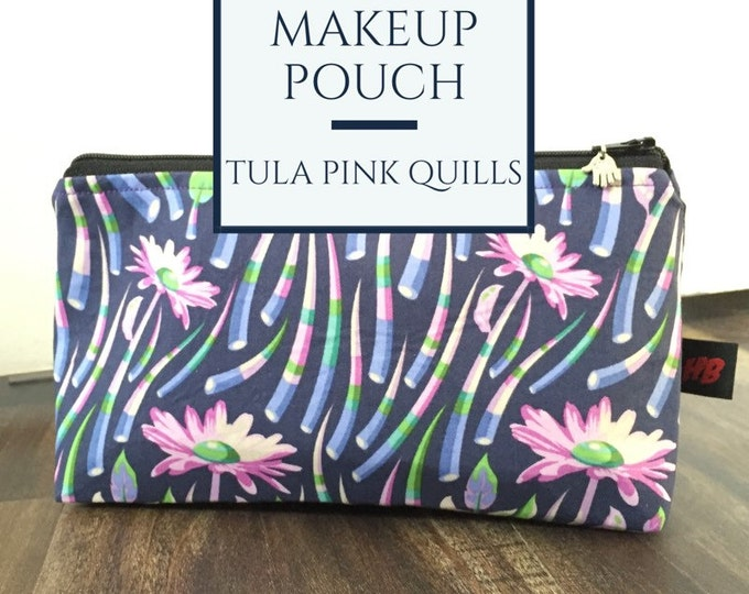 Zippered makeup pouch or diabetic supply bag in a Tula Pink quills fabric