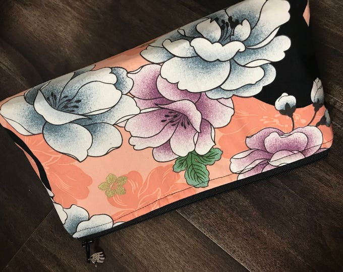 Zippered makeup pouch or diabetic supply bag in a cat and peony fabric