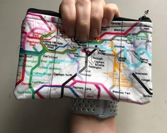 Zippered Pouch - London Underground vinyl coin purse/change purse