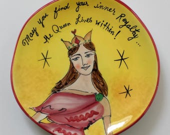 Hand Painted Plate Decorative Plate Home Decor Tableware Ceramic Dishes QUEEN Art