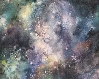 Original Galaxy Watercolor Painting