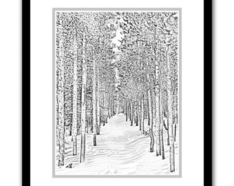 Bierstadt Snowtrail -- by James Ribniker -- Framed Giclee on paper