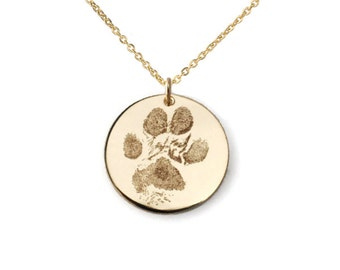 720163e0de2f Your pet's actual paw or nose print custom personalized pendant necklace  Sterling silver or 14k gold filled. Various diameters available