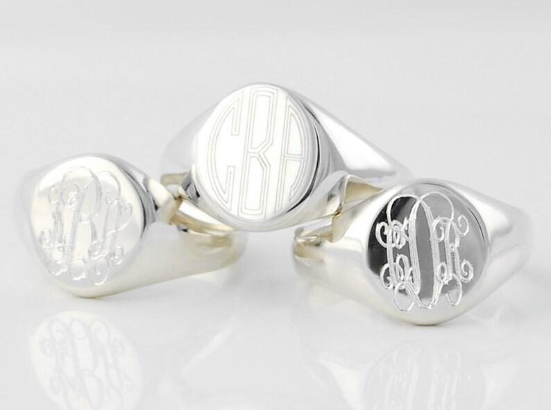Monogram Signet ring  Personalized custom engraved Solid image 0
