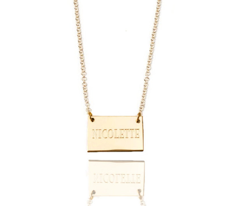 eb092e8c8 Engraved small tag name necklace 14k Gold filled petite   Etsy