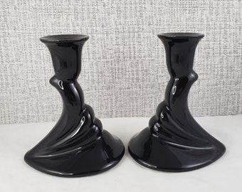 2TTL Haeger 421 Art Deco Style Black Candle Holder Made in USA