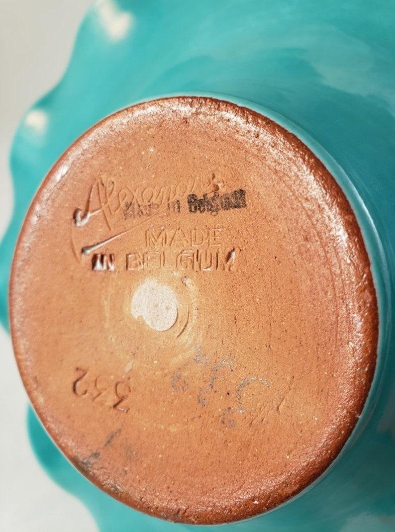 Mid Century Alexandre de Wemmel 332 Turquoise Glaze Pottery Basket White Ribbon Handle Made in Belgium