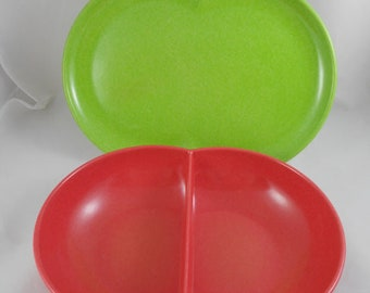 Mid Century Colorflyte by Branchell Platter & Divided Serving Bowl