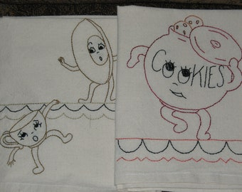 Handmade Embroidered Tea Towels Muslin Set of 8 Clumsy Dishes