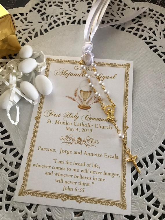 long brunette hair Remembrance Card with Mini Rosary Girl/'s First Communion Favor Baptism Bookmark
