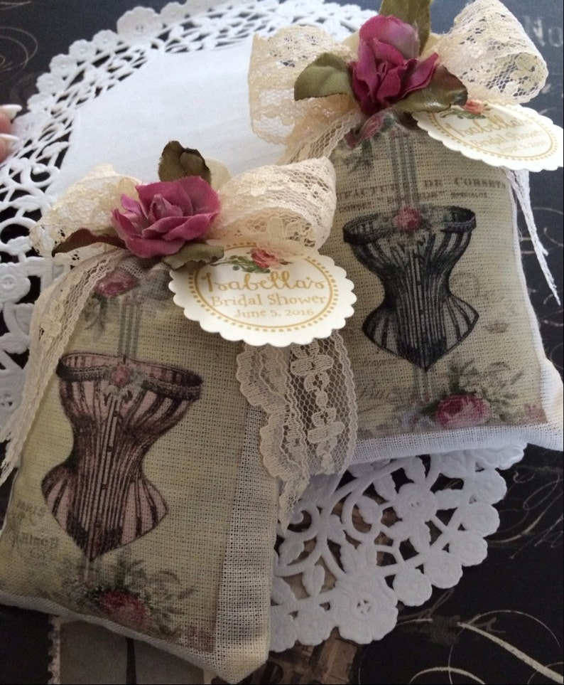 859eccb24 Muslin Bag Lingerie Sachet with Vintage Corset Design French