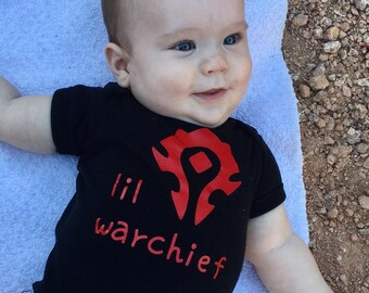 f8d861b98 Lil Warchief WoW baby outfit or shirt | Boy | Girl | Unisex | 100% Cotton  Bodysuit | Infant | Toddler | Warcraft | Horde | Cute!