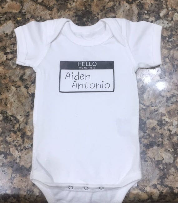 732fd341e Personalized Hello my name is... baby outfit Boy Girl | Etsy