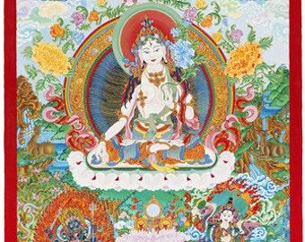 White Tara Tibetan Thanka Female Buddha Goddess Icon Fine Art Giclee Print from Original Art by Kayla Komito