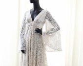 Vintage lace bridal dress- maternity friendly wedding dress-ready to ship- bohemian -made to order boho wedding gown-maternity photo