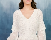 Vintage lace wedding gown- boho wedding dress-ready to ship- bohemian-Ivory lace dress- photo shoot dress-flutter sleeve dress