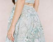Dusty Blue lace wedding skirt 'IRIS' -silk and lace bridal skirt-bridal separates-bridal skirt with train-two piece wedding dress