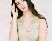Gold lace wedding top 'AURA' -wedding top-bridal separates-two piece wedding dress-gold bridal top