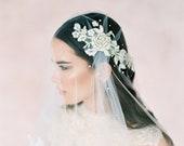 Bridal boho veil-Juliet cap veil- Lace Gold flower bridal veil-Swarovski crystal veil-fingertip veil- wedding veil-blusher- style 106