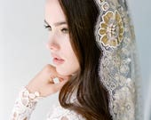 Bridal veil -Mantilla veil- Gold bridal veil-polka dot veil-wedding veil-fingertip veil- lace veil-beaded veil- style 103