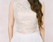 Blush and Ivory lace wedding top 'ROSE'-wedding top-bridal separates-two piece wedding dress-crop bridal top-Ivory wedding dress