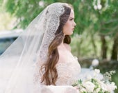 Bridal veil-Bridal drop veil-double layer veil-Cathedral veil-wedding veil-fingertip-lace blusher veil-cathedral veil-style 210