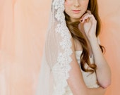Bridal veil- Mantilla veil- Point d'Espirit veil-polka dot veil-wedding veil-fingertip veil- lace veil-beaded veil- style 130