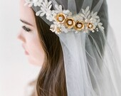 Bridal veil 2017- Juliet cap veil- Gold flower bridal veil-swarovski veil-wedding veil-fingertip veil- lace veil-beaded veil- style 105