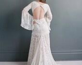 Vintage lace wedding gown- boho wedding dress-ready to ship- keyhole back-Ivory lace dress- photo shoot dress-flutter sleeve dress