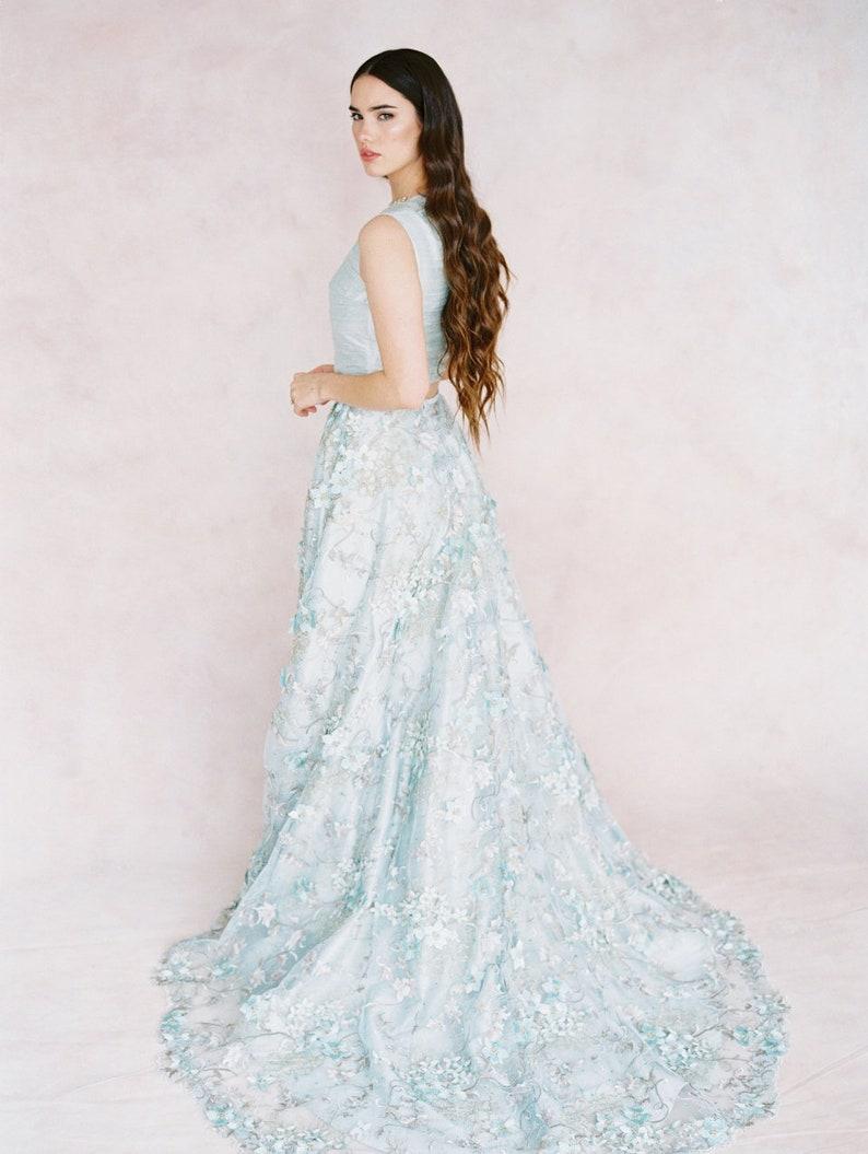 515cfe865b9 Dusty Blue lace wedding skirt  IRIS  silk and lace