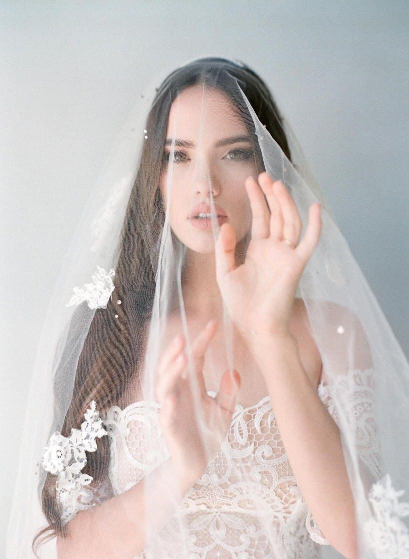 Bridal mantilla veil-double layer veil-fingertip veil-drop | Etsy