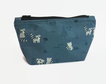 f3e638930920e8 Makeup Bag - Toiletries Bag - Makeup Holder - Raccoons - Blue Makeup Bag - Cosmetic  Bag - Gift Idea