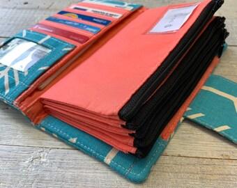 Womens Wallet - Arrow Wallet - Dave Ramsey Money System - Money Envelopes - Teal Wallet - Credit Card Holder - Multi Card Organizer