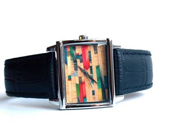 Womens Wrist Watch - Recycled Skateboard Watch Dial - Made in Canada