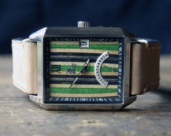 Recycled Skateboard Watch - Leather Strap {Desert Tan} Made in Canada
