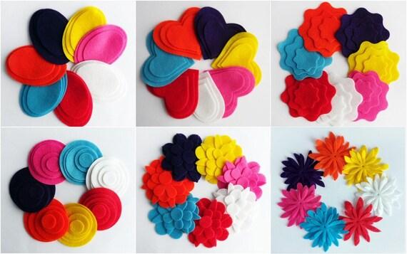 """1.5/"""" turquoise blue felt circles 10 pieces die cut appliqués flower /& bows"""