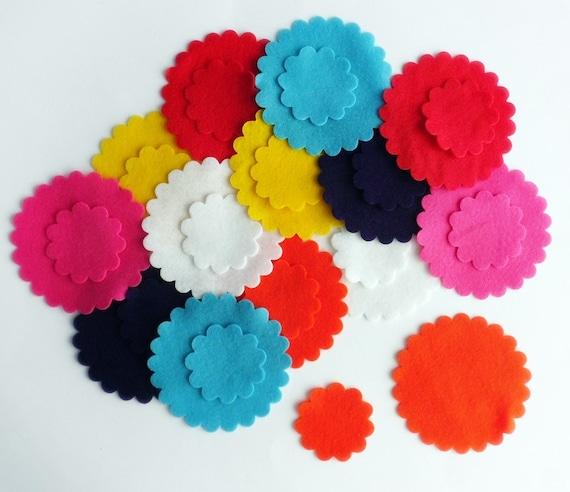 Pack of 20 Felt Circles 2.5cm Die Cut Craft Embellishments Mixed Colours
