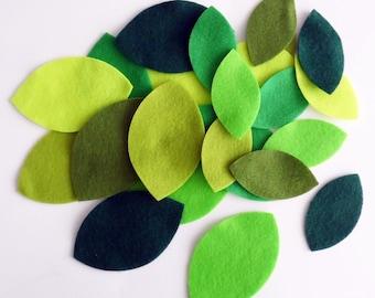 Big felt leaves, green foliage, pre cut felt shapes, craft felt leaves, large felt leaves, die cut embellishmen