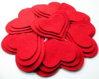 Felt Hearts, Red Hearts, felt Shapes, felt die cut, pre cut felt, felt pack, colorful hearts, headbands supplies