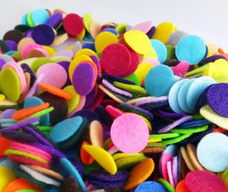 felt  embellishment die cuts for crafts felt craft supplies small felt shapes Felt circles in mixed colors