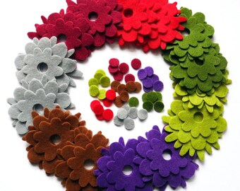 Felt flower Shapes REVOLUTION I, 84 pieces