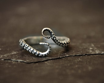 Octopus Tentacle Ring Sterling Silver Pirate Ring Jewelry Kraken Ring Ocean Sea Monster Steampunk Ring