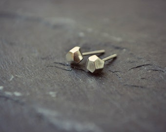 Faceted Sterling Silver Pyrite Earrings Geo Stud Mens Earrings Posts Hypoallergenic Rustic Minimalist Earrings