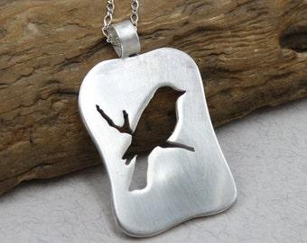 Sterling Silver Bird Necklace Birdie Necklace Bird Jewelry Bird on Branch Bird Pendant Silver Necklace Handcut Sparrow Necklace