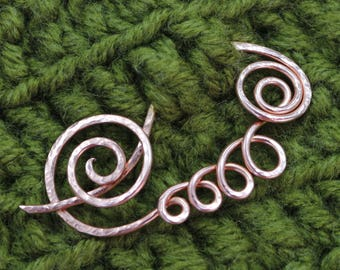 Copper Shawl Pin Scarf Pin Sweater Pin Bridal Pin Wedding Garter Pin Wire Wrap Brooch Copper Brooch Fibula Wire Shawl Pin  Sterling Brooch