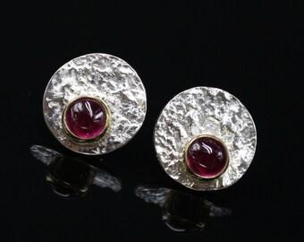Sterling Ruby Earrings Silver Ruby Earrings Ruby Stud Earrings Round Studs Sterling Silver Ruby Textured Ruby Earrings Mixed Metal Earrings