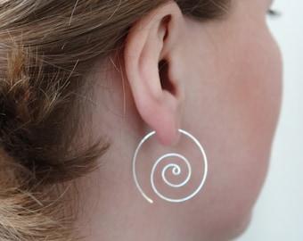 Silver Hoop Earrings Spiral Hoop Earrings Swirl Earrings Spiral Earrings Silver hoop Earing Swirly Hoop Hoops Earrings Silver Hoop Earring