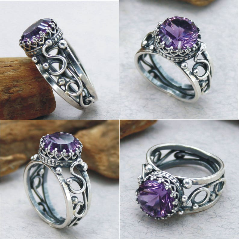 Antique Amethyst Ring For Men For Woman Amethyst Engagement Ring Amethyst Promise Ring Amethyst Anniversary Ring Sterling Silver Gift