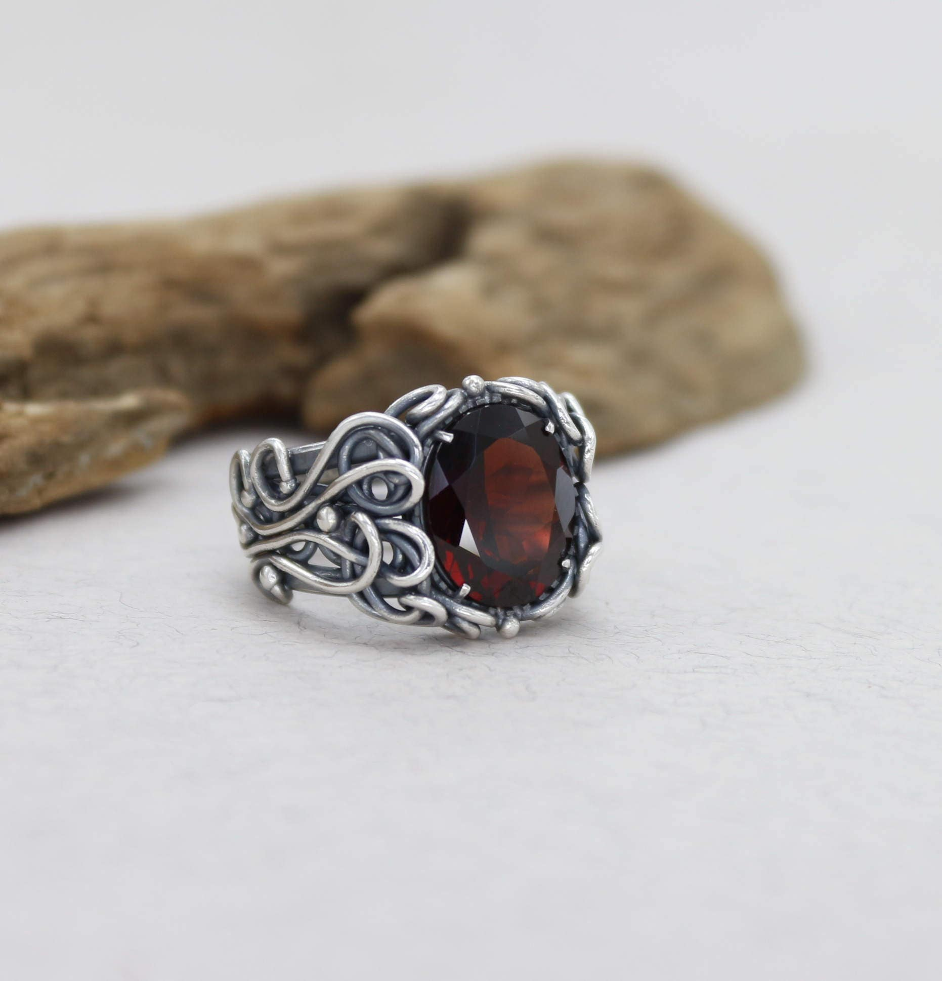 Garnet Bands: Garnet Wedding Ring Silver Garnet Engagement Ring For